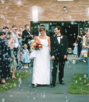 Leaving church on our wedding day