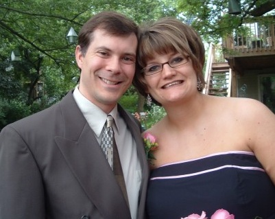 Hubby & pregnant Me at my sister's wedding