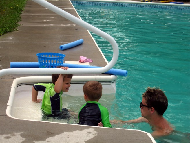About to practice blowing some bubbles in the water...