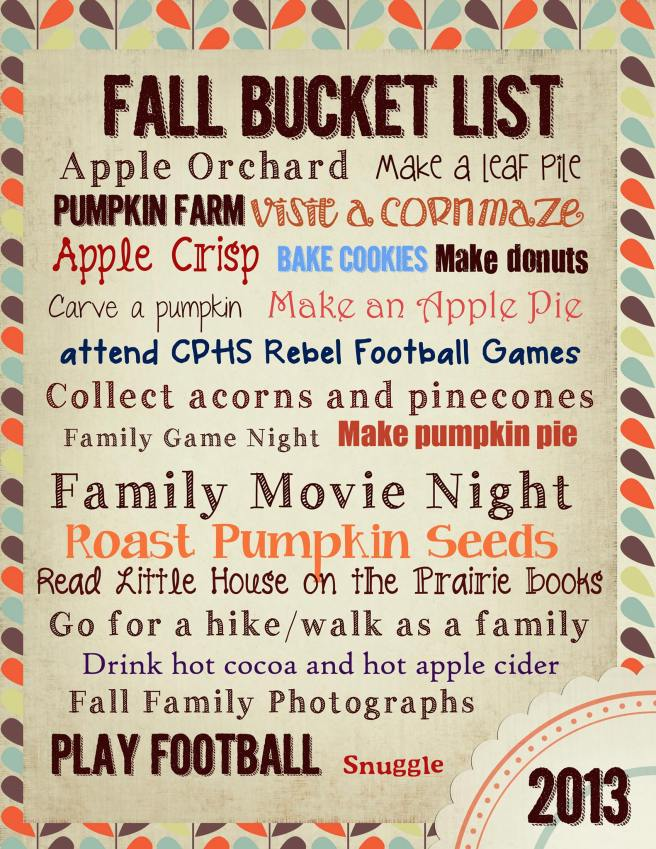 Punky and I made a Fall Bucket List.