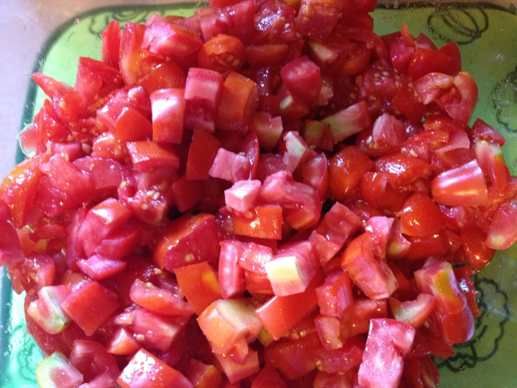 Chopped up all of the tomatoes...