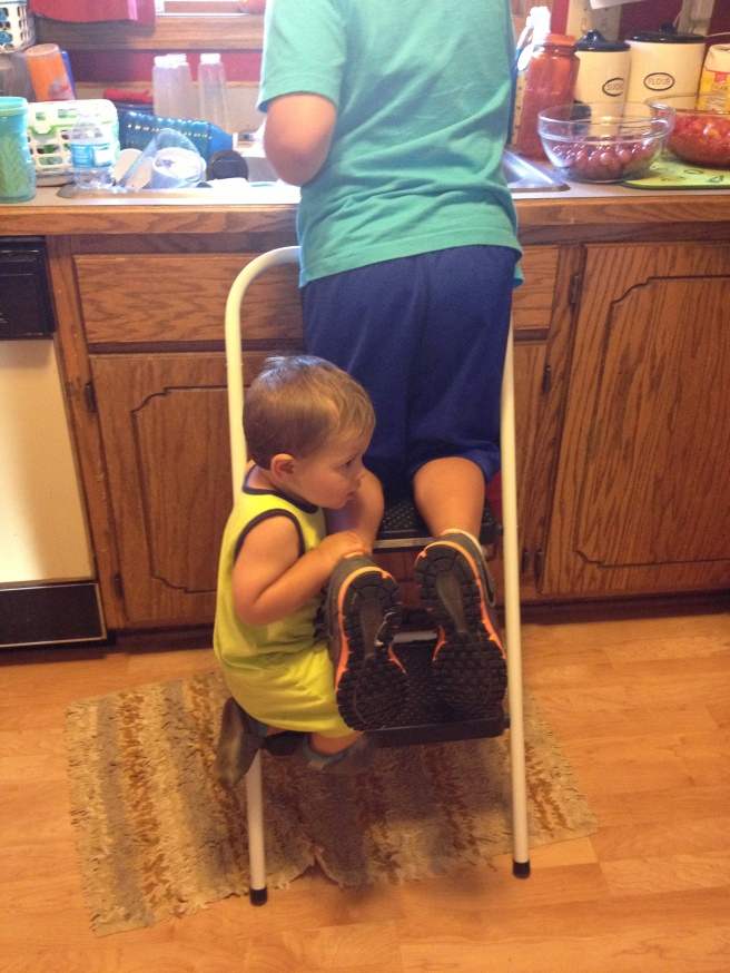 The step stool was way too enticing for Kirby, so he decided to climb up and try to help too.  :)