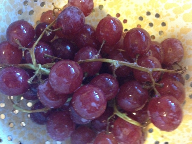 We have a pump full of water along with a few drops of Shaklee's Basic H cleaner.  A few squirts of that over the grapes...