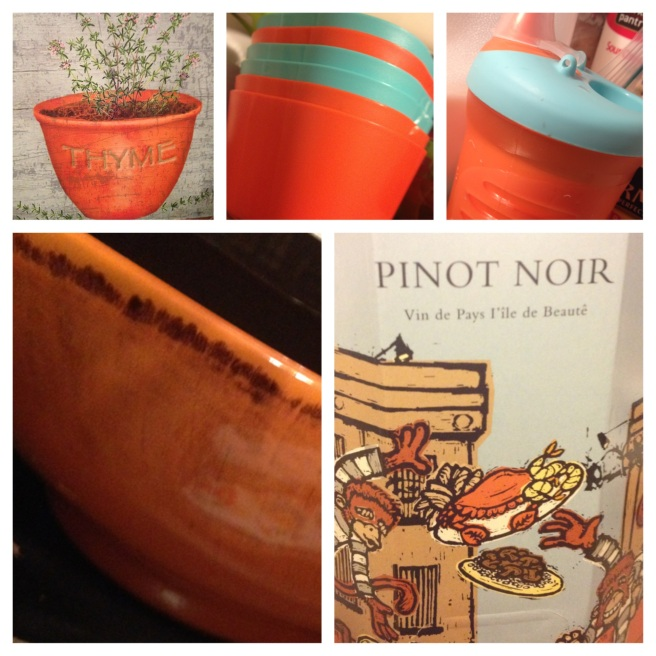 "My ""Thyme"" Canvas, my new IKEA bowls, Kirby's new sippy cup, the orange bowl I couldn't pass up at HomeGoods, and then of course, my Pinot Evil (Pinot Noir)"