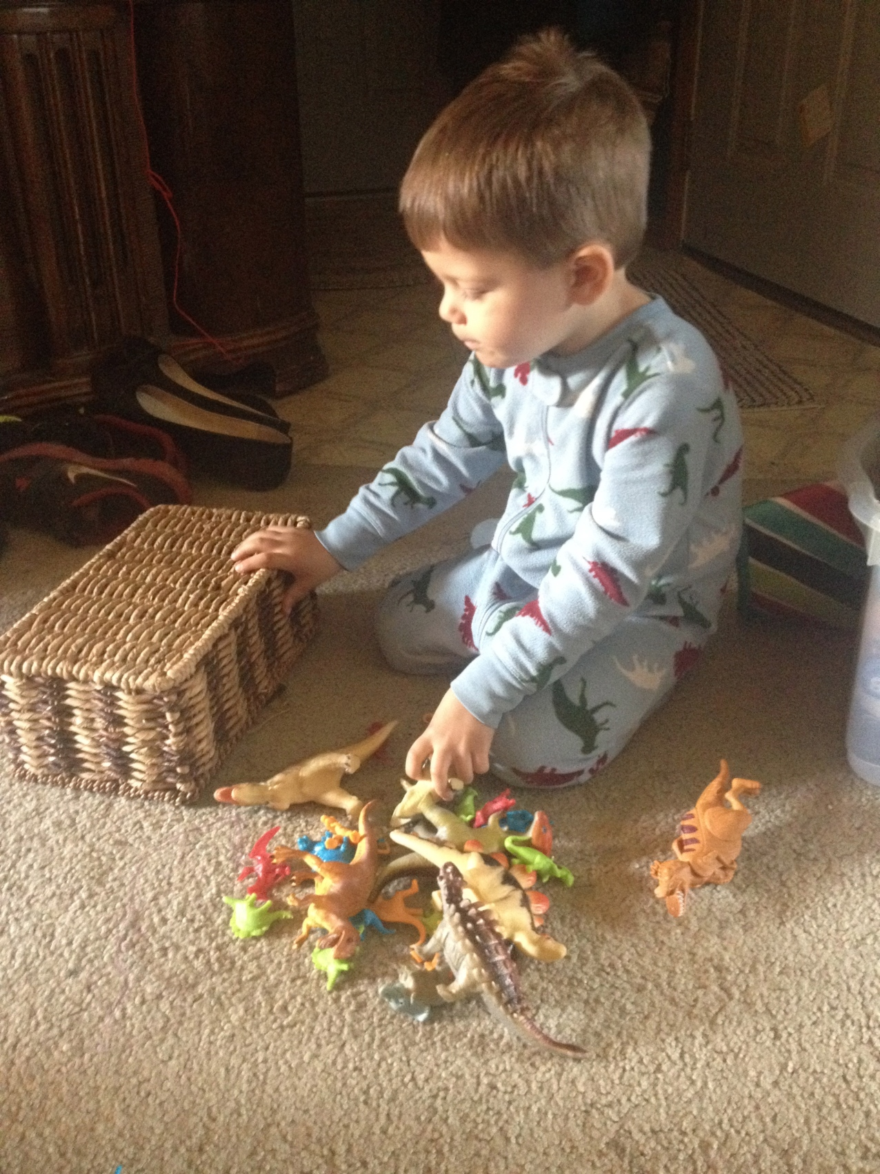 Playing dinosaurs really early in the morning.