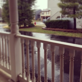 Sat on our front porch while it rained....thinking of all the puddle jumping and splashing we had done over the years!