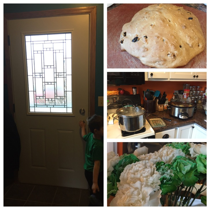 Came home to lots of surprises! A new door, St. Patty's Dinner and Flowers!